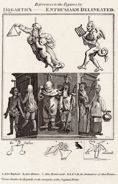References to the Figures in Hogarth's Enthusiasm Delineated. From John Ireland, A Supplement to Hogarth Illustrated.