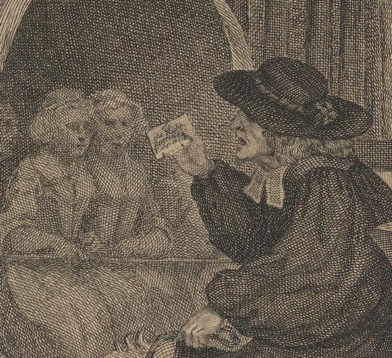 William Hogarth: A Harlot's Progress, Plate 1: Detail: Pfarrer.
