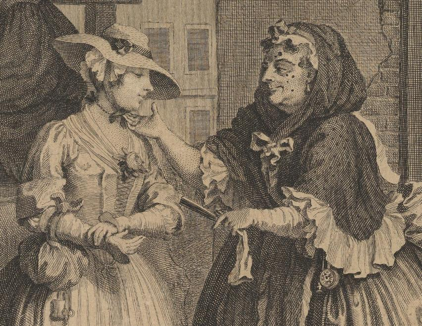 William Hogarth: A Harlot's Progress, Plate 1: Detail: Hure in spe.