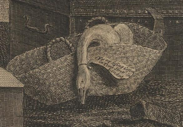 William Hogarth: A Harlot's Progress, Plate 1: Detail: Gans.