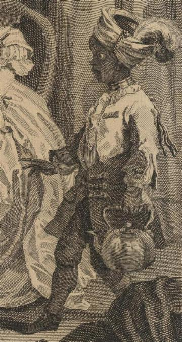 William Hogarth: A Harlot's Progress, Plate 2: Detail: schwarzer Page.