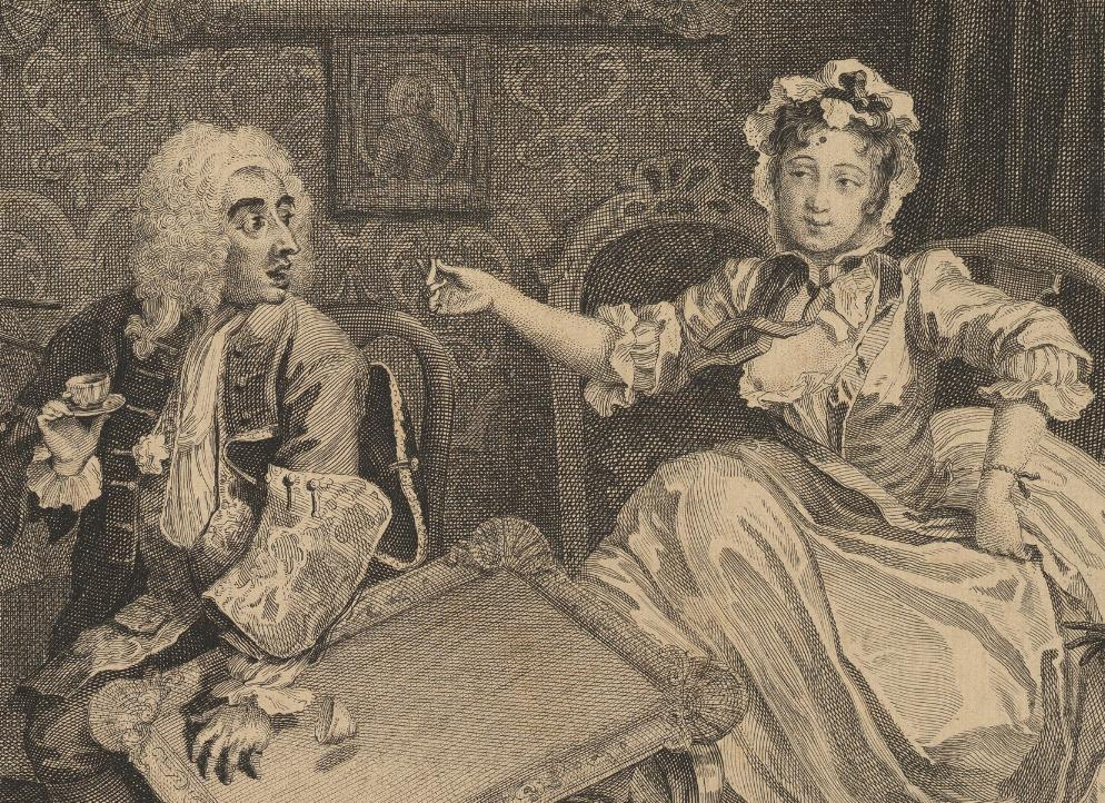 William Hogarth: A Harlot's Progress, Plate 2: Detail: Hure.