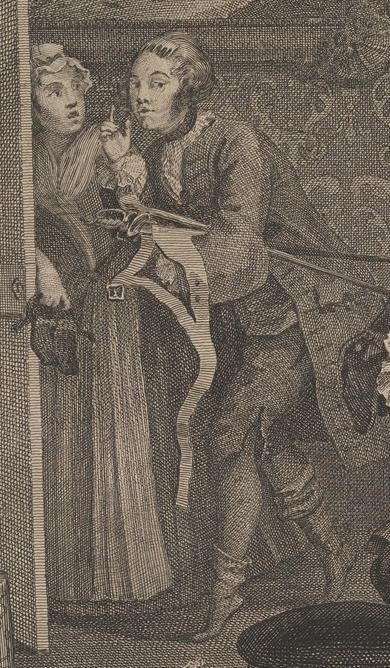 William Hogarth: A Harlot's Progress, Plate 2: Detail: Lesbische Liebhaberin.