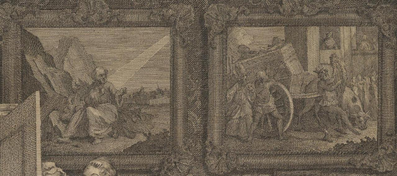 William Hogarth: A Harlot's Progress, Plate 2: Detail: Bilder.