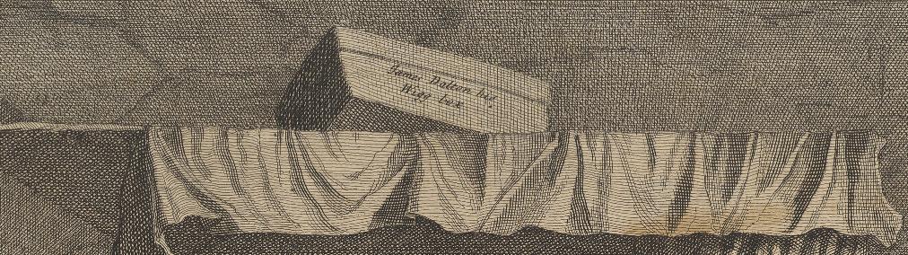 William Hogarth: A Harlot's Progress, Plate 3: Detail: Daltons Perückenschachtel.