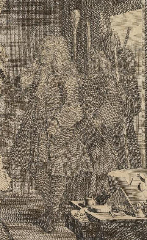 William Hogarth: A Harlot's Progress, Plate 3: Detail: Richter Gonson.