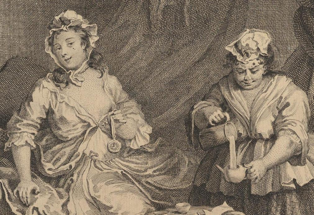 William Hogarth: A Harlot's Progress, Plate 3: Detail: Hure.