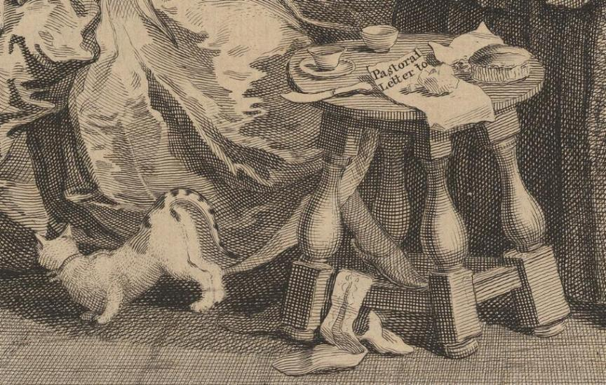 William Hogarth: A Harlot's Progress, Plate 3: Detail: Hirtenbrief.