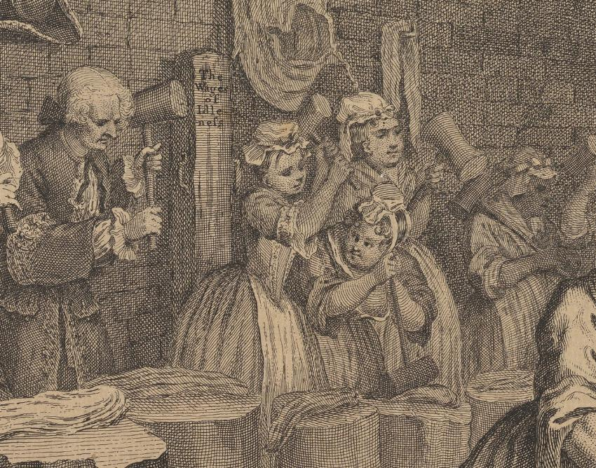 William Hogarth: A Harlot's Progress, Plate 4: Detail: Kind.