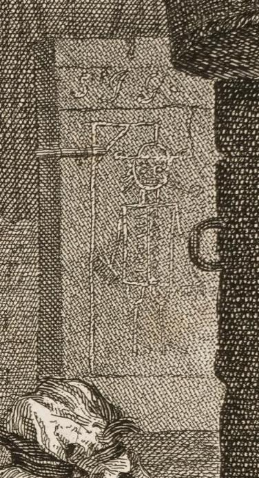William Hogarth: A Harlot's Progress, Plate 4: Detail: Galgenmännchen.