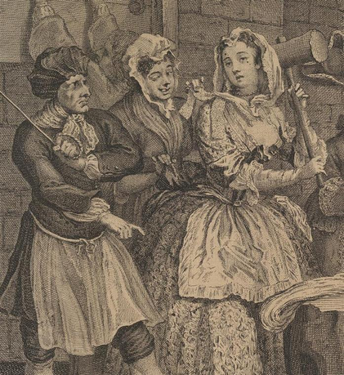 William Hogarth: A Harlot's Progress, Plate 4: Detail: Hanf klopfende Hure.