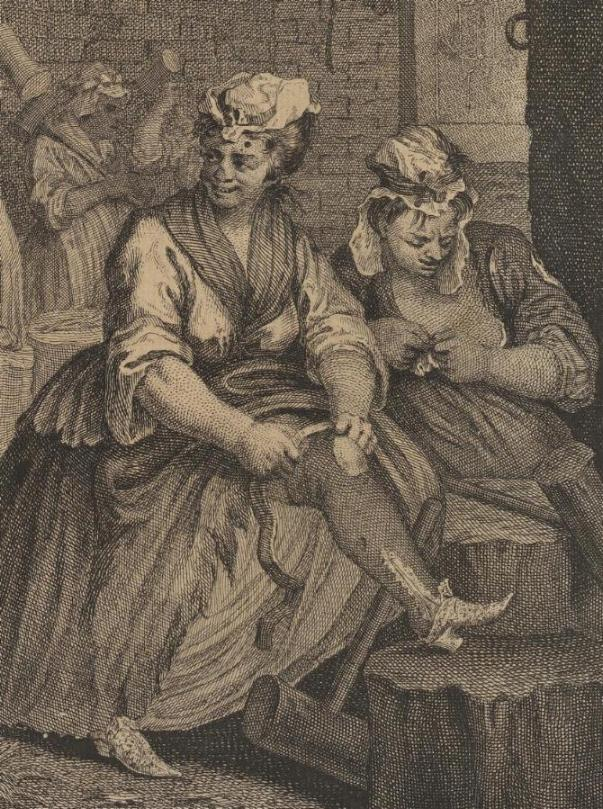 William Hogarth: A Harlot's Progress, Plate 4: Detail: pausierende Frauen.