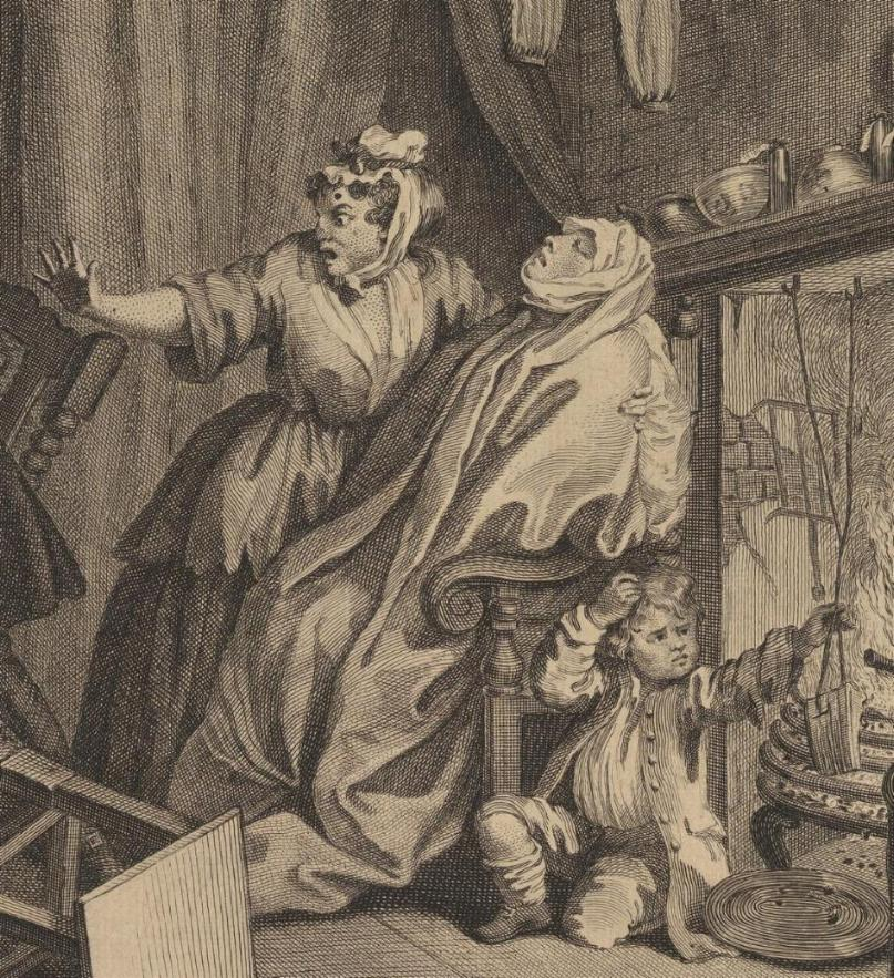 William Hogarth: A Harlot's Progress, Plate 5: Detail: Kind.