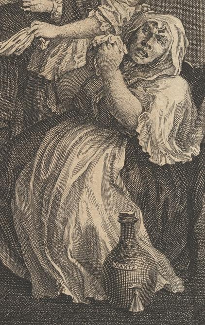 William Hogarth: A Harlot's Progress, Plate 6: Detail: Mother Bentley.