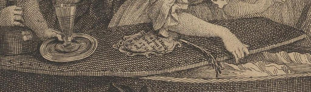 William Hogarth: A Harlot's Progress, Plate 6: Detail: Sargdeckel.