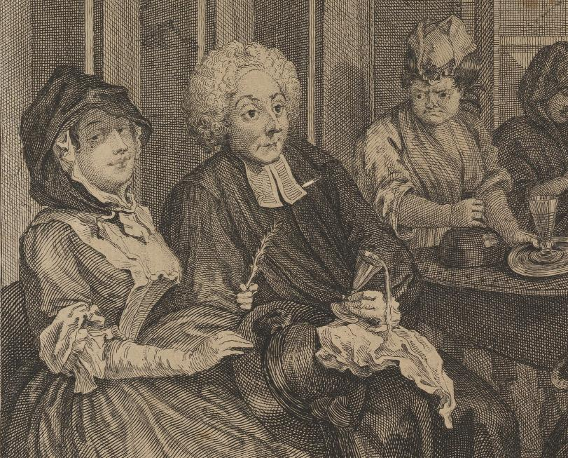 William Hogarth: A Harlot's Progress, Plate 6: Detail: Pfarrer.