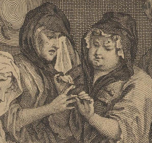 William Hogarth: A Harlot's Progress, Plate 6: Detail: Hure mit Warze.