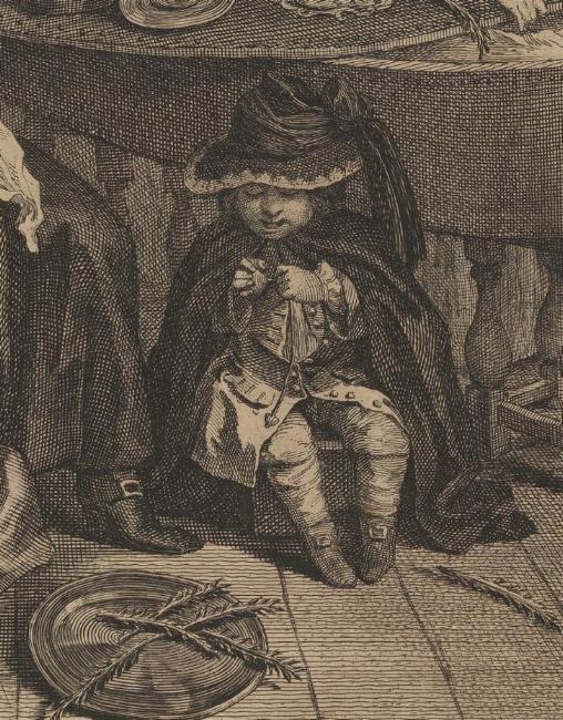 William Hogarth: A Harlot's Progress, Plate 6: Detail: Sohn der Verstorbenen.