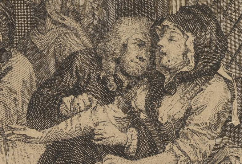 William Hogarth: A Harlot's Progress, Plate 6: Detail: Bestatter.